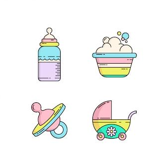 Icono de bebé lindo colorido en estilo monoline