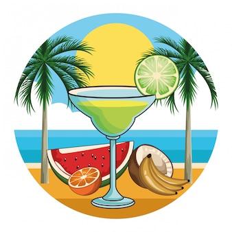 Icono de bebida de cóctel tropical