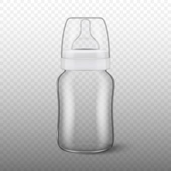 Icono de biberón en blanco realista con tapa closeup sobre fondo de cuadrícula de transparencia plantilla de envase de leche vacía estéril, para gráficos