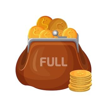 Icono de billetera de cuero marrón