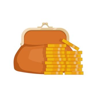 Icono de billetera con dinero. bolso con dinero en efectivo. símbolos de negocios y finanzas