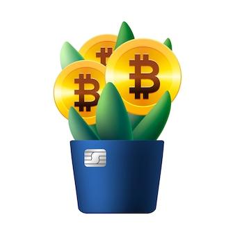 Icono de bitcoin creciente como flor, planta con hojas, ilustración