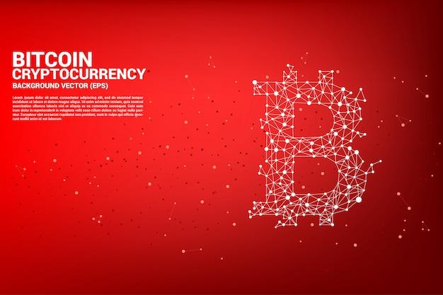 Icono de bitcoin de la línea de conexión de puntos polygon.