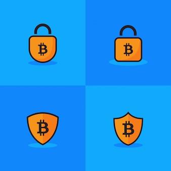 Icono de bitcoin plantilla de logotipo de candado seguro