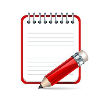 Icono de bloc de notas y lápiz rojo.