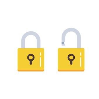 Icono de bloqueo plano. candado desbloqueado y bloqueado. bloqueo cerrado y bloqueo abierto. símbolo de protección y seguridad.