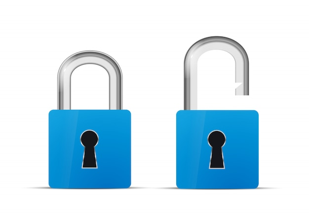 Icono de bloqueo realista azul abierto y cerrado aislado en blanco