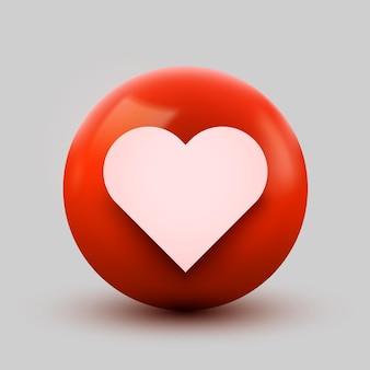Icono de bola de corazón 3d