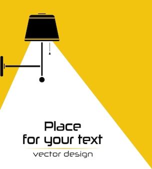 Icono de bombilla de lámpara de lámpara aislada interior moderno sobre fondo rosa lugar para el texto
