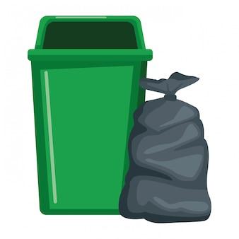Icono de bote de basura y bolsa
