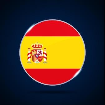 Icono de botón de círculo de bandera nacional de españa. bandera simple, colores oficiales y proporción correcta. ilustración de vector plano.