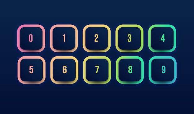 Icono de botón colorido con viñeta de número