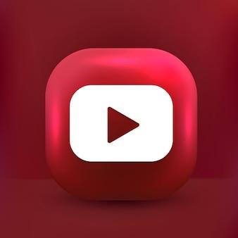 Icono de botón de youtube redes sociales de estilo lindo 3d