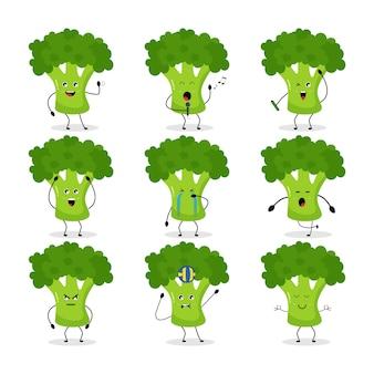 Icono de brócoli caricatura de dibujos animados haciendo actividad diaria gimnasio jugando haciendo peine de pelo yoga cantando bádminton feliz alegre selfie bailando