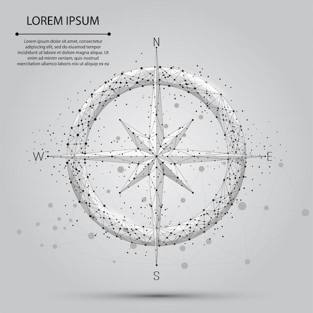 Icono de brújula de línea y punto abstracto. ilustración de estilo de baja poli
