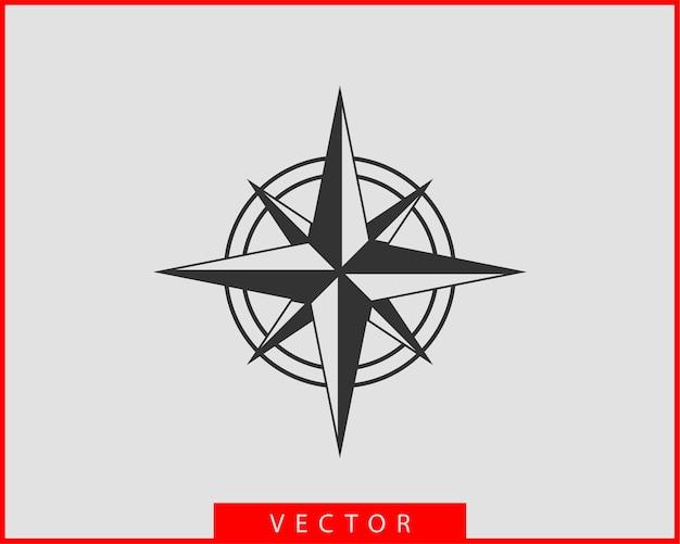 Icono de brújula. navegación estrella rosa de los vientos.