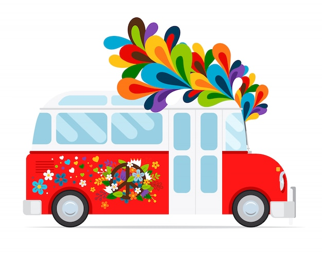Icono de bus hippie con elemento floral.