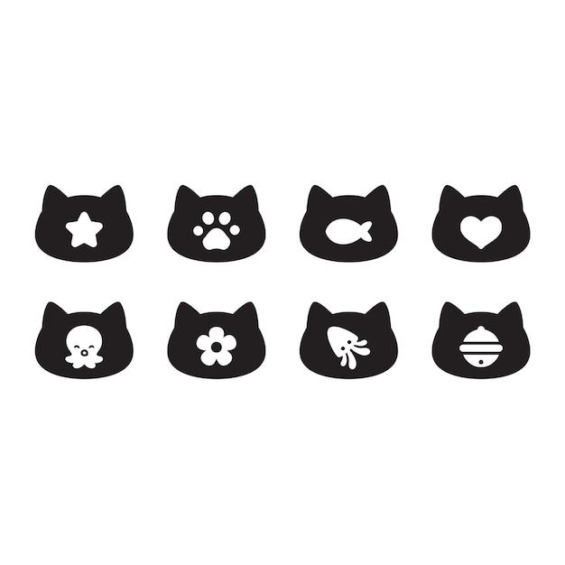 Icono de cabeza de gatito de dibujos animados de personaje de gato