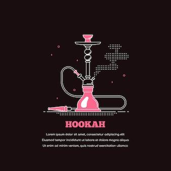 Icono de cachimba aislado sobre fondo negro. banner de concepto de shisha de fumar. ilustración de arte de línea de estilo plano para bar lounge y menú de cachimba