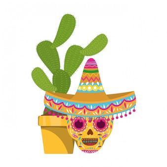 Icono de cactus y calavera con sombrero mexicano.