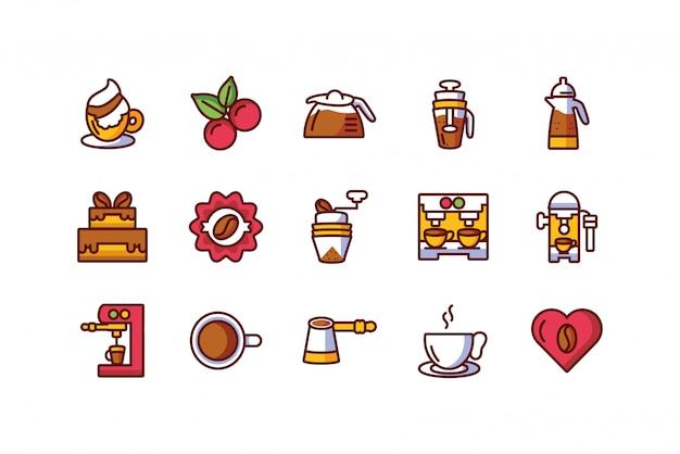 Icono de café aislado set diseño vectorial