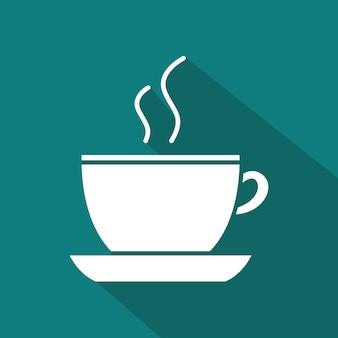 Icono de café, diseño plano de ilustración con larga sombra