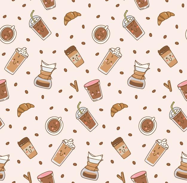 Icono de café establece patrón en estilo kawaii doodle