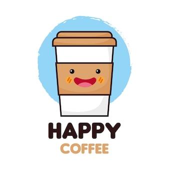 Icono de café feliz y comida kawaii