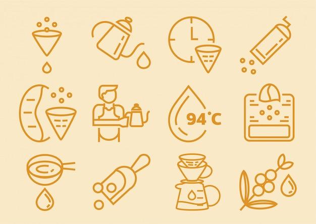 Icono de café de goteo con papel de filtro