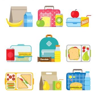 Icono de caja de almuerzo escolar para niños en estilo plano