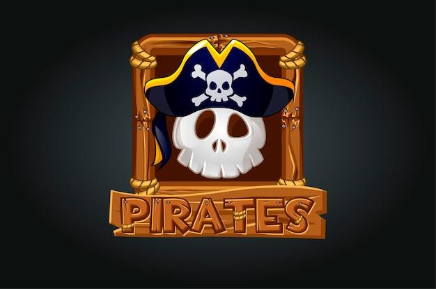 Icono de calavera pirata en el marco del juego. cráneo aterrador en un sombrero sobre un fondo gris en un marco de madera.