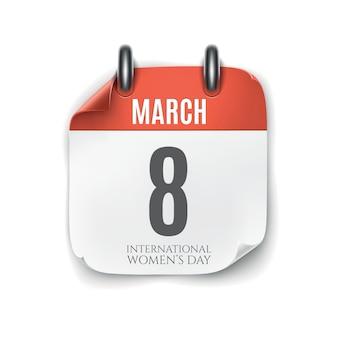 Icono de calendario de marzo aislado sobre fondo blanco. plantilla del día internacional de la mujer.