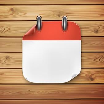 Icono de calendario realista sobre fondo de madera. ilustración para tus proyectos.