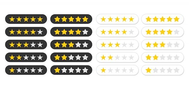 Icono de calificación de cinco estrellas. nivel de estado de la tasa para la aplicación.