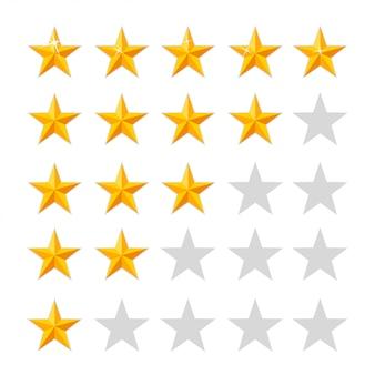 Icono de calificación de estrellas doradas. conjunto de insignias. calidad, retroalimentación, experiencia, conceptos de nivel. ilustración aislada sobre fondo blanco. página del sitio web y aplicación móvil