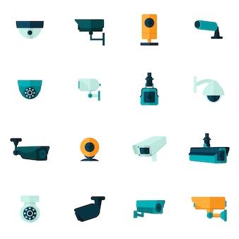 Icono de cámara de seguridad plana