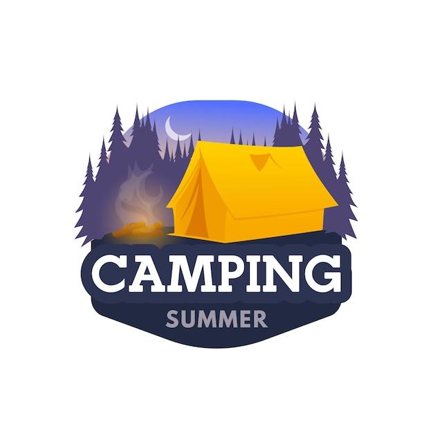 Icono de campamento nocturno, carpa y emblema del club de campamento turístico.