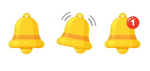 Icono de campana de notificación. la campana de alerta dorada está temblando para alertar sobre el próximo horario.