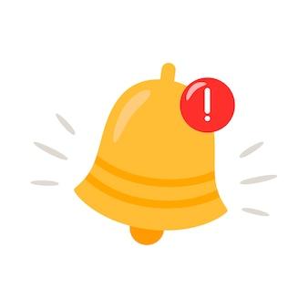 Icono de campana de notificación. la campana de alerta dorada está temblando.