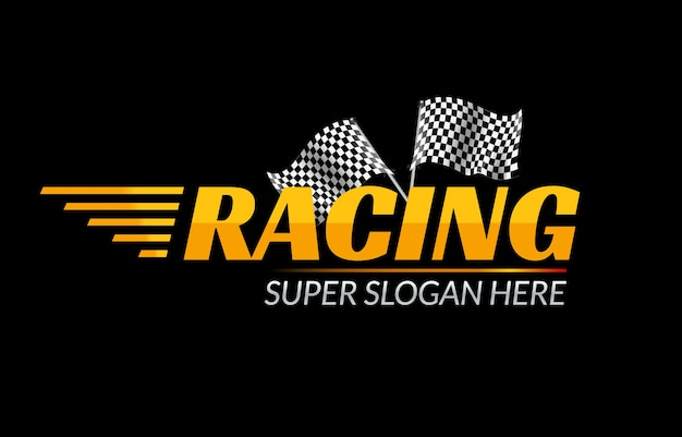Icono del campeonato de carreras. concepto rápido de logo de carrera con bandera. marca de competición deportiva.