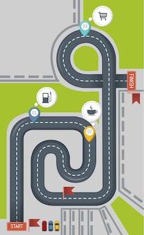 Icono de carretera, estilo plano