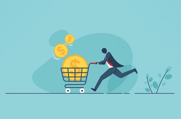 Icono de carro de supermercado plano con dinero de moneda de oro grande. diseño de ilustración vectorial.