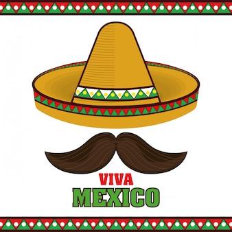 Icono del cartel del sombrero de mexico viva