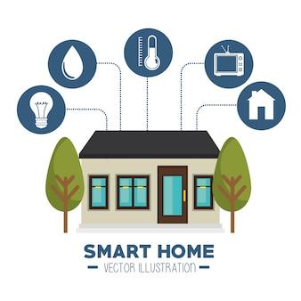Icono de casa inteligente y sus aplicaciones aisladas