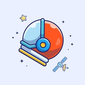 Icono de casco de astronauta. casco de astronauta, satélite y estrellas, espacio icono blanco aislado