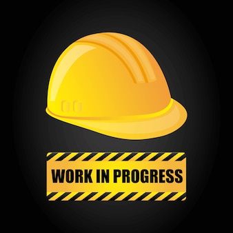 Icono de casco. diseño de trabajo en progreso. gráfico vectorial