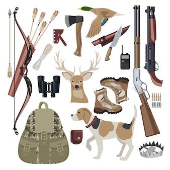 Icono de caza elementos de diseño conjunto.