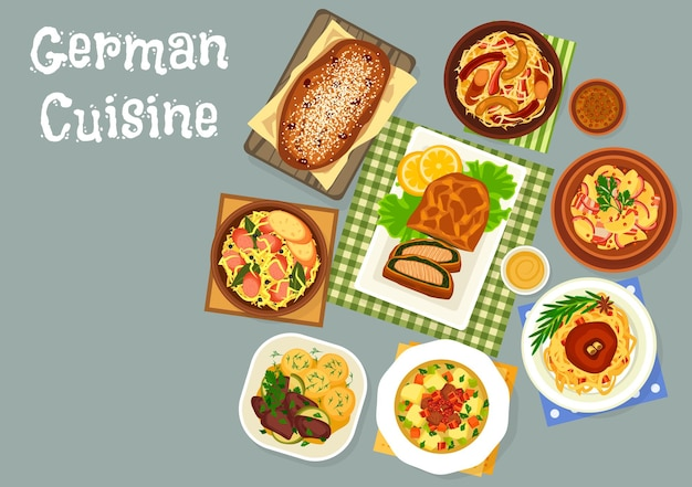 Icono de cena de cocina alemana de ilustración de platos de repollo y chucrut