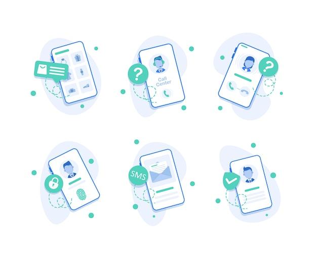 Icono del centro de llamadas del teléfono inteligente, iconos del operador del centro de llamadas, diseño plano del teléfono inteligente con llamadas entrantes en la pantalla