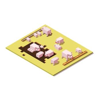 Icono de cerdos isométricos, comederos y tierra